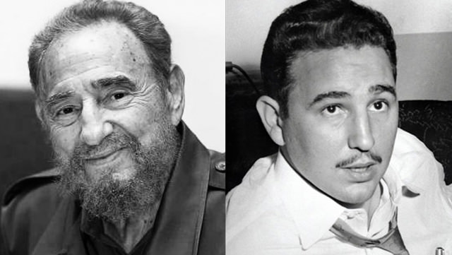 Fidel Castro: With Beard and With Just A Mustache