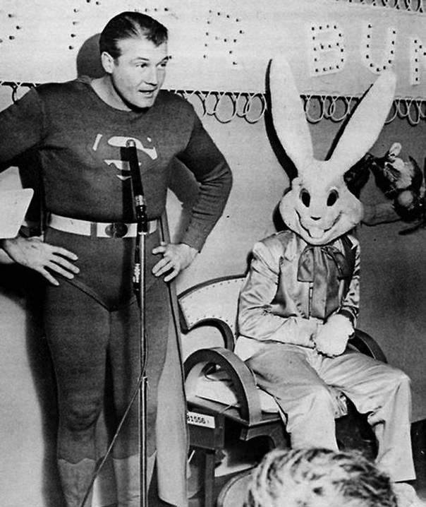 Superman George Reeves Visits With The Easter bunny