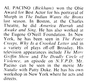 Al Pacino's First Playbill