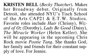 Kristen Bell's First Playbill