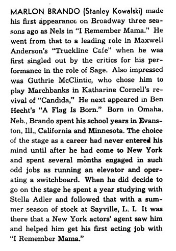 Marlon Brando's First Playbill