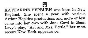Katharine Hepburn's First Playbill
