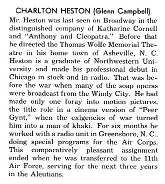Charlton Heston's First Playbill