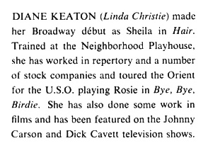 Diane Keaton's First Playbill
