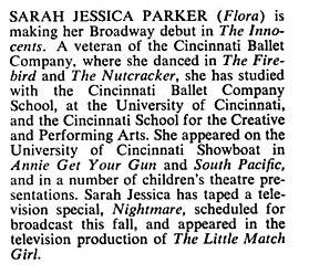 Sarah Jessica Parker's First Playbill