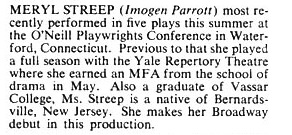 Meryl Streep's First Playbill