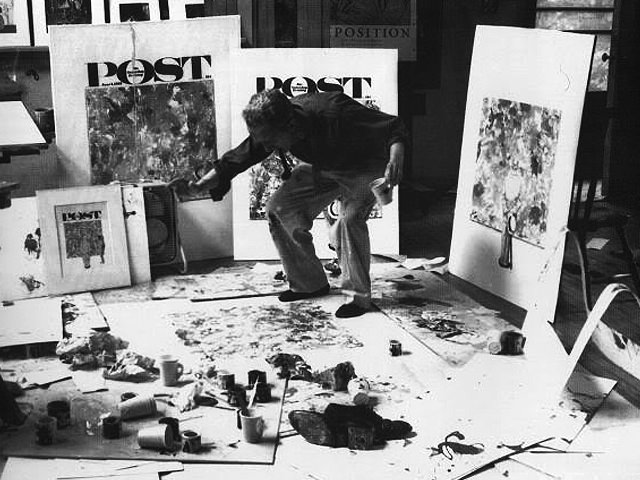 Norman Rockwell Creating A Jackson Pollock Style Drip Painting