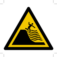 Warning; Deep shelving beach