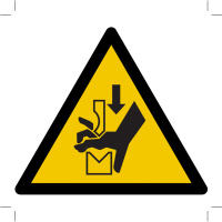 Warning; Hand crushing between press brake tool
