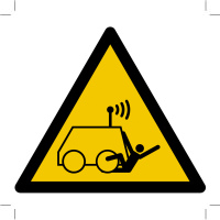 Warning; Run over by remote operator controlled machine)
