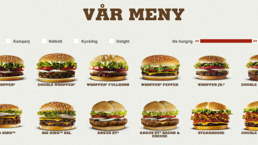 Burger King Sweden Menu