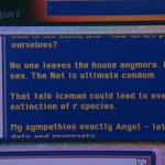 A screenshot from the cyberchat in The Net