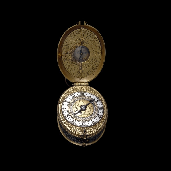 1610 watch with sundial and compass