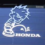 Calvin pees on Honda