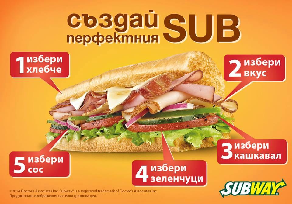 Subway's Menu in Bulgaria